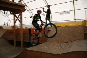 Kaytlin jumping at air dome